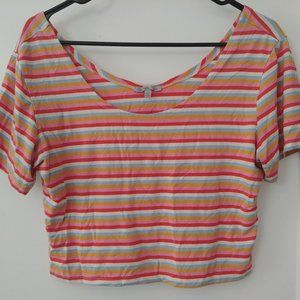 Forever 21 Striped Rainbow Cropped T-Shirt